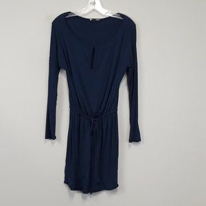 krisa Navy Drawstring Waist Peephole Dress Size S